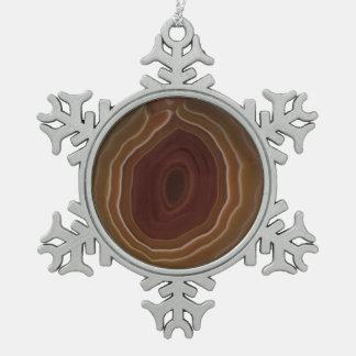 Agate slice snowflake unique tree decoration. pewter snowflake decoration