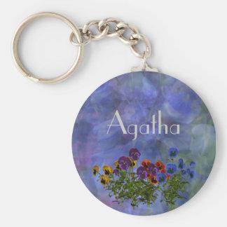 Agatha Purple Pansy Name Gift Key Ring