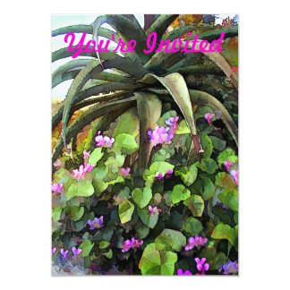 Agave and African Violets 13 Cm X 18 Cm Invitation Card