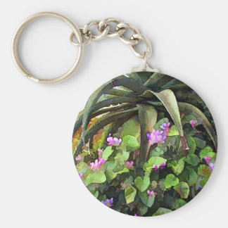 Agave and African Violets Basic Round Button Key Ring