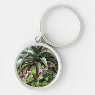 Agave and African Violets Silver-Colored Round Key Ring