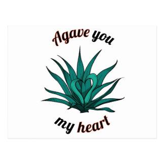 agave you my heart postcard