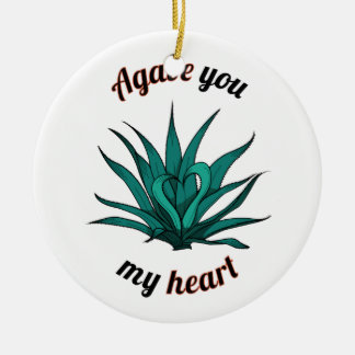 agave you my heart round ceramic decoration