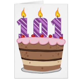Age 101 on Birthday Cake Card