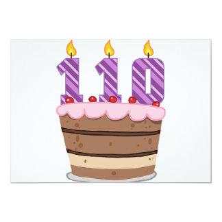Age 110 on Birthday Cake Custom Invite