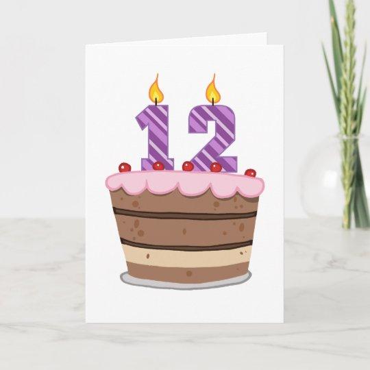 Fantastic Age 12 On Birthday Cake Card Zazzle Co Uk Birthday Cards Printable Trancafe Filternl