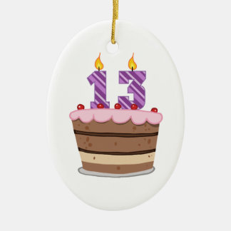 Age 13 on Birthday Cake Christmas Ornament