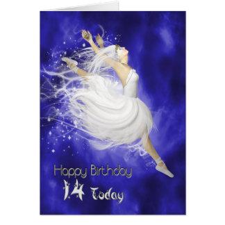 Age 14, leaping ballerina birthday card