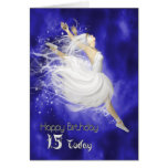 Age 15, leaping ballerina birthday card
