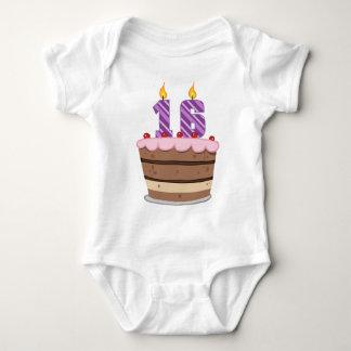Age 16 on Birthday Cake Baby Bodysuit