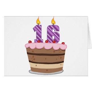 Age 16 on Birthday Cake Card