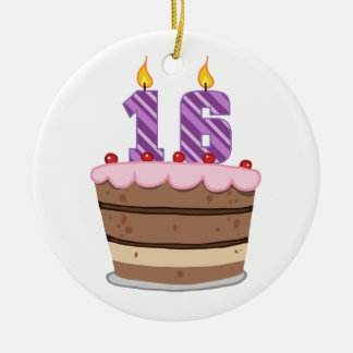 Age 16 on Birthday Cake Christmas Ornament