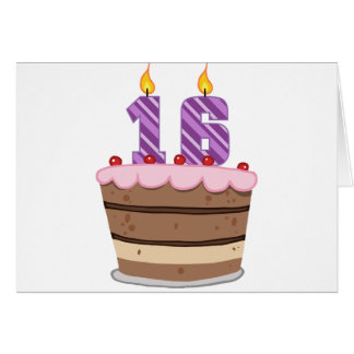 Age 16 on Birthday Cake Greeting Card