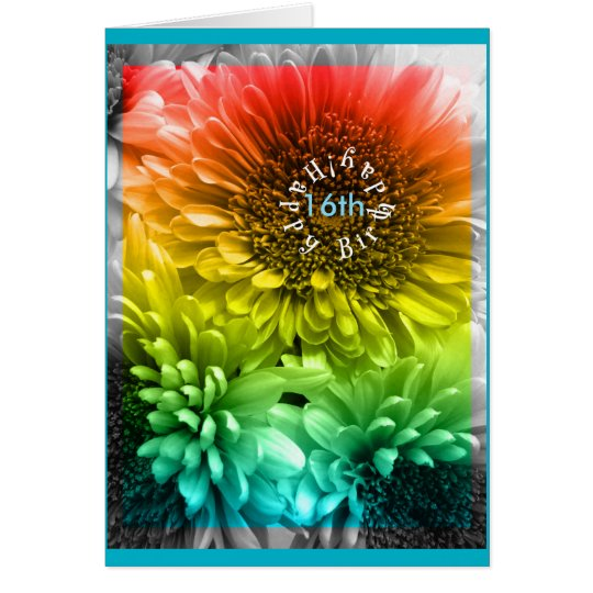 (Age) 16th Birthday tie dye Rainbow flowers Card