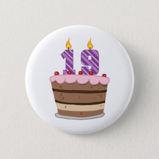Age 19 on Birthday Cake 6 Cm Round Badge