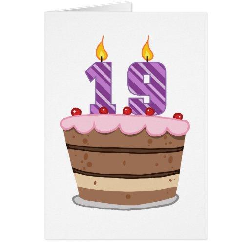 Age 19 on Birthday Cake Greeting Card