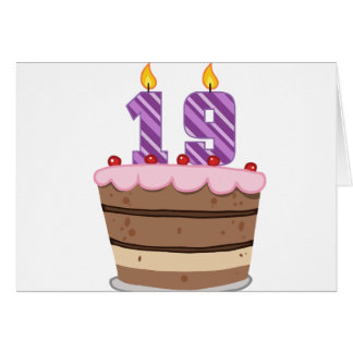 Age 19 on Birthday Cake Greeting Card