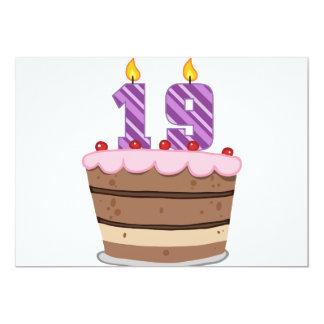 Age 19 on Birthday Cake Custom Invitations