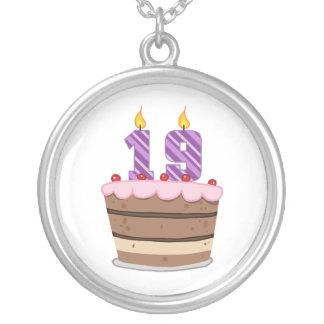 Age 19 on Birthday Cake Round Pendant Necklace
