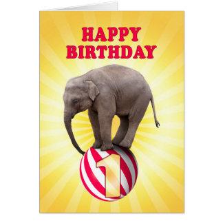 Age 1, a happy elephants birthday card