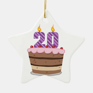 Age 20 on Birthday Cake Christmas Ornament