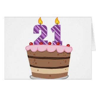 Age 21 on Birthday Cake Greeting Card