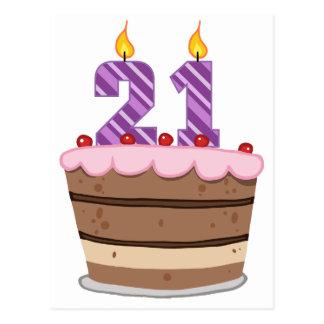 Age 21 on Birthday Cake Postcard