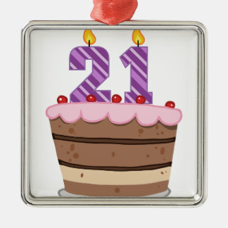 Age 21 on Birthday Cake Silver-Colored Square Decoration