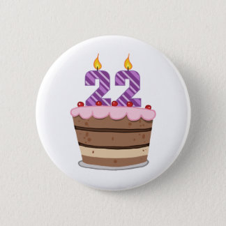 Age 22 on Birthday Cake 6 Cm Round Badge
