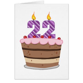Age 22 on Birthday Cake Card