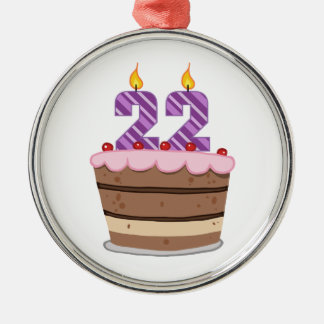Age 22 on Birthday Cake Christmas Ornament
