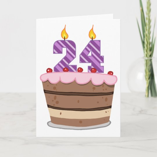 Superb Age 24 On Birthday Cake Card Zazzle Co Uk Personalised Birthday Cards Veneteletsinfo