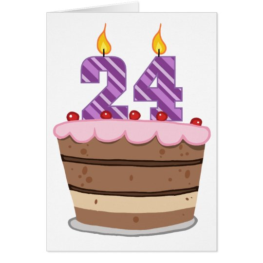 Age 24 on Birthday Cake Card