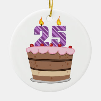 Age 25 on Birthday Cake Christmas Ornament