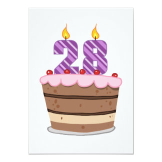 Age 28 on Birthday Cake 13 Cm X 18 Cm Invitation Card