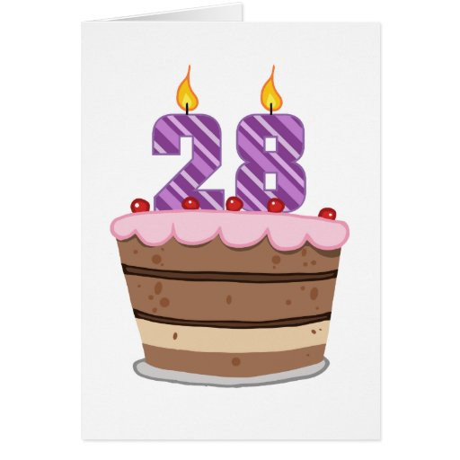 Age 28 on Birthday Cake Cards