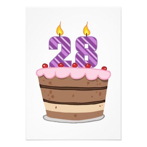 Age 28 on Birthday Cake Custom Invitation