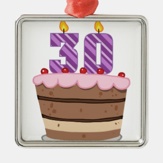 Age 30 on Birthday Cake Christmas Ornament