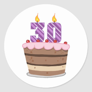 Age 30 on Birthday Cake Classic Round Sticker