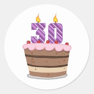 Age 30 on Birthday Cake Round Sticker