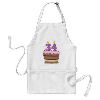 Age 34 on Birthday Cake Standard Apron