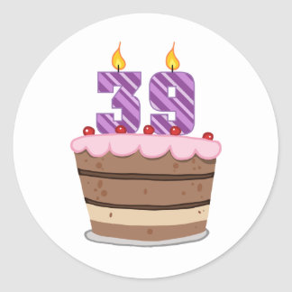 Age 39 on Birthday Cake Classic Round Sticker