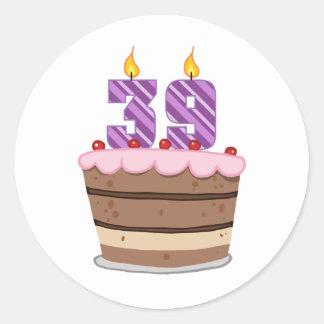Age 39 on Birthday Cake Round Sticker