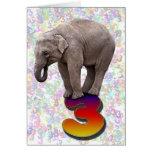 Age 3, a happy elephants birthday card