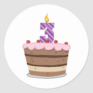 Age 3 on Birthday Cake Round Sticker
