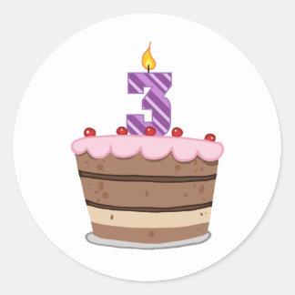 Age 3 on Birthday Cake Stickers