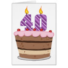 Age 40 on Birthday Cake Card