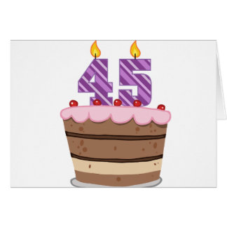 Age 45 on Birthday Cake Greeting Card