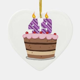 Age 49 on Birthday Cake Ceramic Heart Decoration