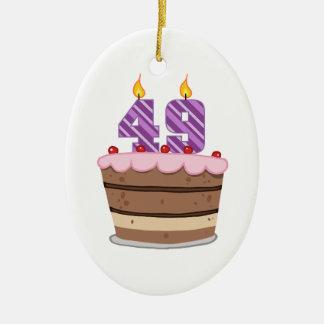 Age 49 on Birthday Cake Ceramic Oval Decoration